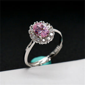Pink sapphire ring - Rings For Women Natural Pink Sapphire Oval Stone S925 Sterling Silver Fine Jewelry Adjustable White Ring