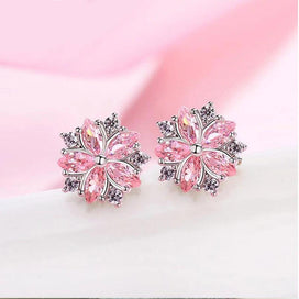 Pink flower earrings - 925 Sterling Silver Pink Crystal Zircon Cherry Blossom Flower Stud Earrings For Women Girl