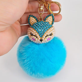 Keychains for girls - 8 Color Best Cool Puff Ball KeyChains Cute Fox Key Chains Kids Womens Personalized Rings Key Chains Car