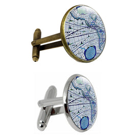 One Pair World Map Glass Jewelry Cufflinks Cuff Links Globe Men And Women Accessories Antique Vintage Blue Sleeve Button