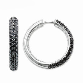 Cubic zirconia hoop earrings - Black Pave Hinged Hoop Creole Earrings Thomas Style Glam Fashion Good Jewelry For Women Ts In