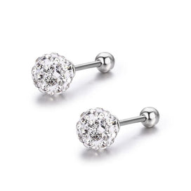 Sterling silver ball earrings - Cute Crystals Round Ball 925 Sterling Silver Screw Back Stud Earrings For Women Girls Child