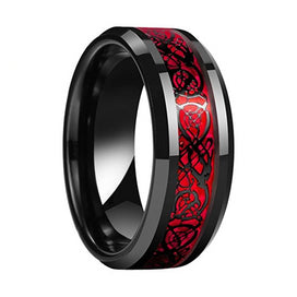8MM Black Wedding Band Men Women Tungsten Wedding Band Ring With Red Opal And Black Dragon Inlay