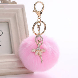 Keychains for girls - 1PC Lovely Crystal Ballet Girl Pompom Keychains Golden Dancing Angel Fluffy Puff Ball Pendants Key Car