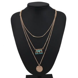 Charm necklace chain - Big Statement Multi Layer Charm Jewelry Bohemian Stripe Sequins Natural Stone Beads Tassel Necklaces