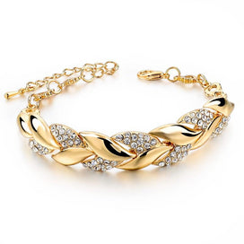 Chain bracelet womens - Braided Gold Color Leaf Bracelets & Bangles With Stones Crystal Bracelets For Women Wedding