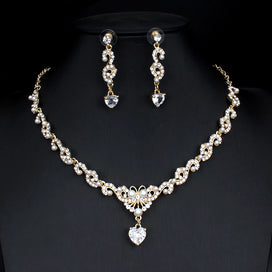 Bridal jewellery set - Bridal Jewelry Set For Glamour Women Wedding Dresses Accessories Zircon Necklace Earrings Set Gold