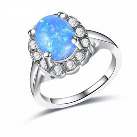 eaafc40a5 Bohemia Red/White/Yellow/Blue Fire Opal Ring White Gold Filled Wedding Rings