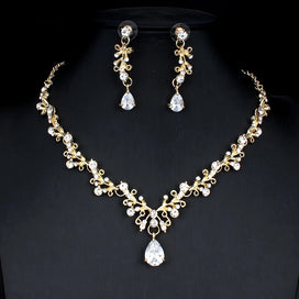 Bridal jewellery set - Bridal Jewelry Set For Noble Women Wedding Dress Accessories Crystal Necklace Earrings Set Gold Color