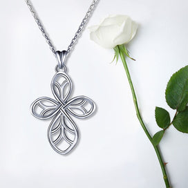 925 Sterling Silver Pendant Necklace Fine Jewelry Good Luck Four Leaf Clover Silver For Women Girls