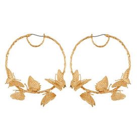 Hoop earrings for women - Alloy Butterfly Earrings Hoops Exaggerated Creative Gold Round Circle Huggie Women's Hoop