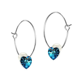 Heart shaped hoop earrings - Blue Heart Crystals From SWAROVSKI Hoop Earrings For Women Simulated Pearl Jewelry Hanging Day