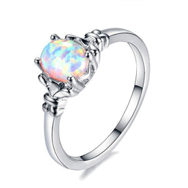 Engagement rings for women - 925 Sterling Silver Filled Oval Opals Rings For Women White/Blue/Purple Fire Opal Birthstone
