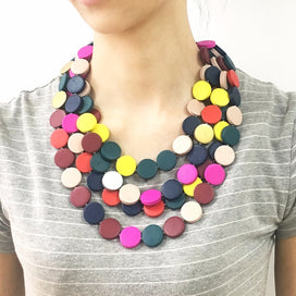Multi color beads necklace - Bohemia Multi Layer Beaded Statement Necklace Women Handmade Multi Color Wood Beads Chokers