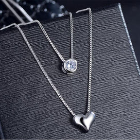 Sterling silver beaded necklace - 925 Sterling Silver Necklace Double Layer Chain Zircon Heart Pendants Necklaces For Women
