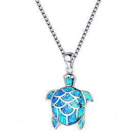 Sterling silver opal necklace - 925 Sterling Silver Filled Blue Fire Opal Turtle Pendants Necklaces For Women Animal Jewelry