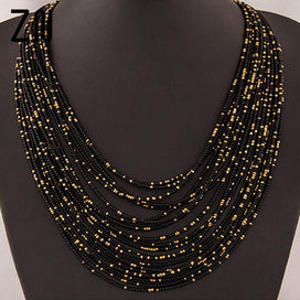 Layered beaded necklace - Bohemia Necklace Fashion For Women Exaggerated Multilayer Beads Statement Choker Chunky Necklace