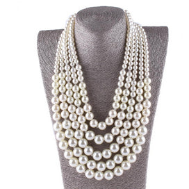 Long red beaded necklace - Big Pearl Necklace Long Statement Imitate Pearl Beads For Wedding Party Decoration Women Fashion