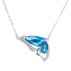 Sterling silver butterfly necklace - 100% 925 Sterling Silver Butterfly Blue Crystal Female Ladies`pendant Necklaces Link