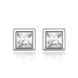 Stainless steel stud earrings - 0.6cm Square Crystal Stud Earrings With Crystals From Swarovski Multi-colors Fashion Jewelry