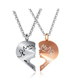 Engraved necklace for her - Romantic Couple Necklaces Her King His Queen Crown Figure Personalized Stainless Steel Pendant