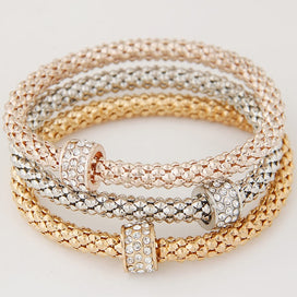 Rose gold chain bracelet - 3PCS Gold Silver Rose Gold Color Metal Chain Crystal Round Circle Charm Bracelets & Bangles