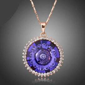 Lotus flower necklace - Mysterious Purple Austrian Crystals Lotus Flower Pendant Necklace For Female