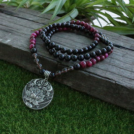 Black bead necklace - 8mm Rose Tiger's Eye And Black Onyx Beads Necklace,With Lotus Pendant design Mala,108 Bead Mala,
