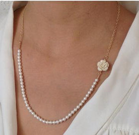 Vintage pearl necklace - Fashion Vintage Hand Beaded Imitation Pearl Roses Short Necklaces Women Jewelry Accessories B4xr