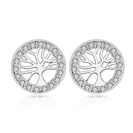 Cubic zirconia stud earrings - 100% 925 Sterling Silver Circle Stud Earrings with Clear CZ Crystal For Women Authentic Silver