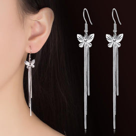 Sterling silver stud earrings - 100% Real Sterling Silver Women Earrings Butterfly With Long Tassels Big Bohemia Style Female