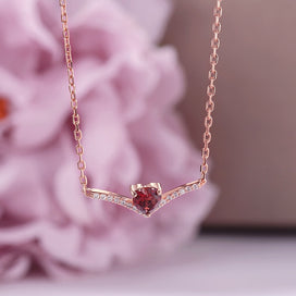 Garnet heart necklace - Fine Jewelry Pendant Necklace For Women Solid 925 Silver Natural Garnet Gemstone Heart Red Chain 18K