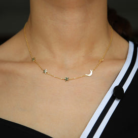 Moon and star necklace silver - 925 Sterling Silver Moon Star Necklaces & Charm Gold Filled Chain Minimal Plain Necklaces