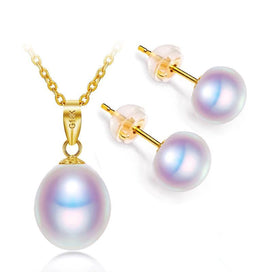 Pearl earrings gold - 18K Gold Freshwater Pearl Set 8-9mm Pendant Necklace Studs Earrings Pearl Jewelry Sets