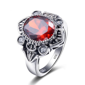 Vintage garnet rings - 1.7ct Pomegranate Crown Garnet Ring 925 Sterling Silver Women Wedding Engagement Rings Party 925