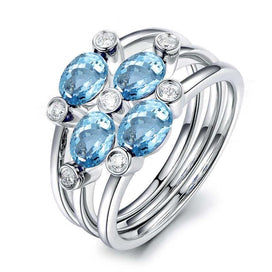 Blue topaz engagement ring - 1 Carat Oval Cut Natural Topaz 3 Pcs Ring Set Genuine 925 Silver Natural Blue Topaz Ring Set