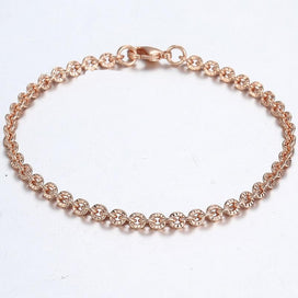 Rose gold chain bracelet - 585 Yellow Rose Gold Filled Womens Bracelet Chain Cut Rolo Round Link 3mm 18cm 20cm 23cm