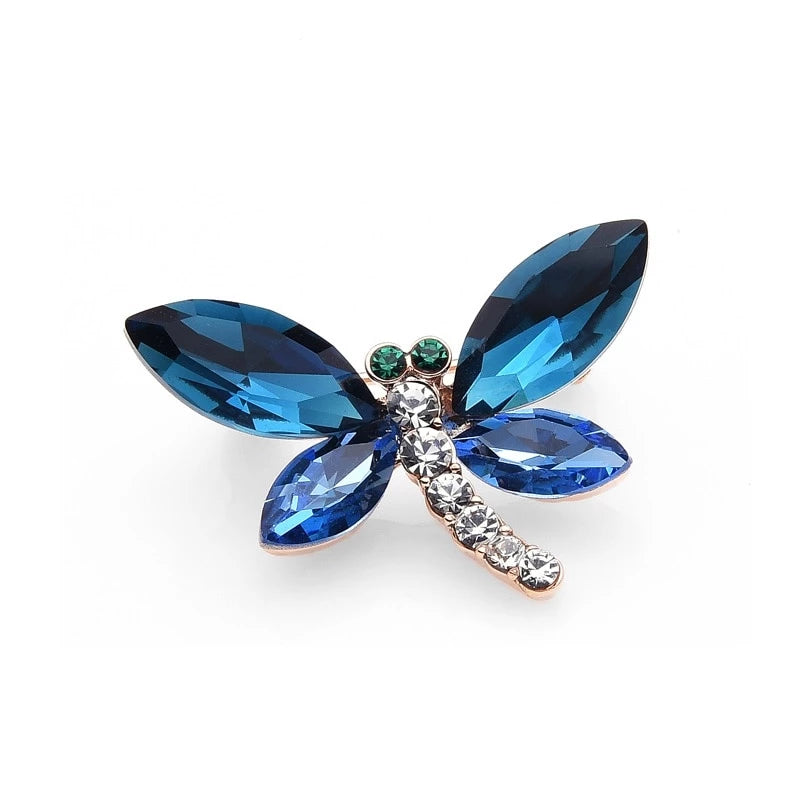 LovePendants Necklace or Charm in Swarovski Crystal with Enameled DRAGONFLY Engraving in Sterling-Silver