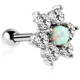 Stainless steel stud earrings - 1PC Surgical Steel 16g Prong Crystal Gem Opal Stud Earring Opal Flower Ear Cartilage Tragus