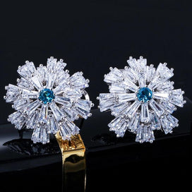 Cubic zirconia stud earrings - Designer Cluster Flower Light Blue Cubic Zirconia Crystal Big French Clip Stud Earrings For