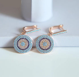 Cubic zirconia dangle earrings - Fashion Earrings Jewelry Rose Gold Color Austrian Crystal Nano Turquoises Earrings Wedding