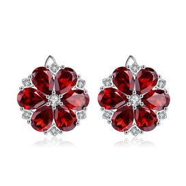 Cubic zirconia stud earrings - 10.1Ct Natural Red Garnet Earrings 925 Sterling Silver Gemstone Vintage Flower Stud Earrings