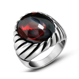 Black onyx rings for women - Black Onyx Red Opal Ring For Women Thick Band In Antique Titanium Stainless Steel Vintage Gothic
