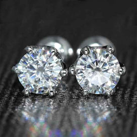 14k white gold earrings - 14K 585 White Gold 0.6ctw 4mm Lab Created Moissanite Diamond Stud Earrings Push Back For Women Gift