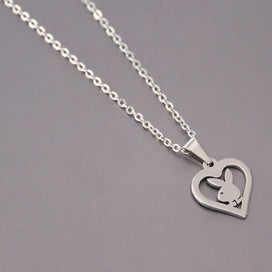 Heart locket necklace - 1pc Little Bunny Stainless Steel Custom Necklace Rabbit Heart Pendants Necklaces Women Kids Fashion