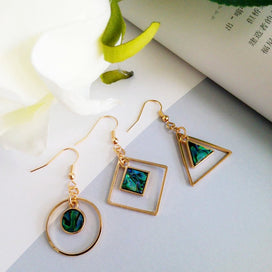 Green dangle earrings - Dazzle Color Green Shell Dangle Earrings Triangle Geometry Contracted Fashion Accessories The For
