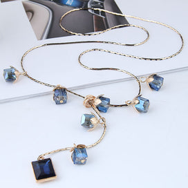 Blue bead necklace - Blue Crystal Long Necklaces For Women Gold Color Chain Rhinestone Square Beads Charm Pendant Female