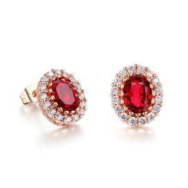 Red crystal earrings - Red Crystal Stud Earrings For Women Rose Gold Color Fashion Jewelry Made With Austrian Crystal Party