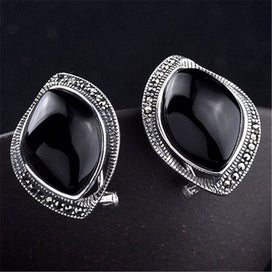 100% Real 925 Sterling Silver Stud Earrings Black Red Stone Vintage Jewelry for Women Female