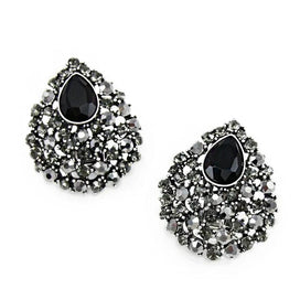 Black crystal earrings - Fancy Black Clip Earrings With Rhinestone Crystals No Pierced Clip On Earrings Black For Women